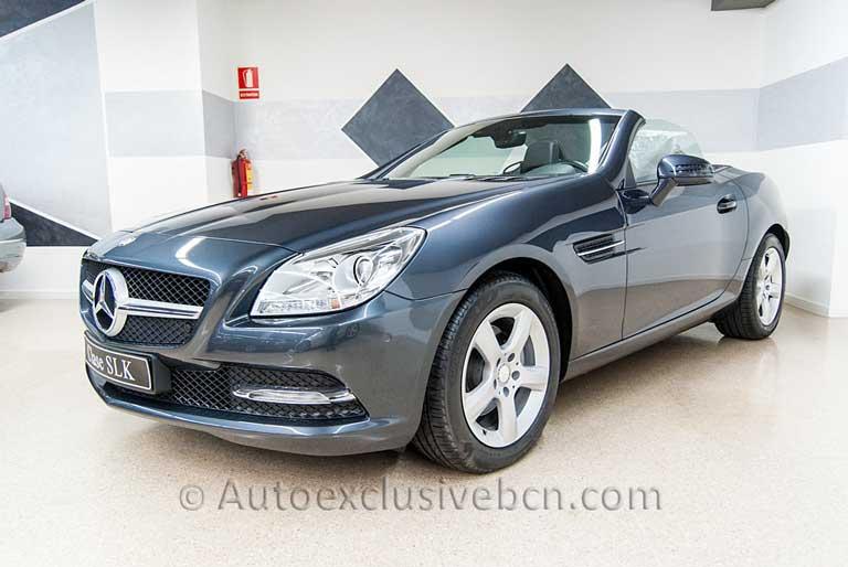 Mercedes SLK 200 BE Gris Tenorita - Piel Negra . Auto Exclusive BCN, tu concesionario Ocasión Mercedes Barcelona